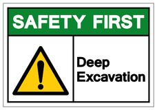 Safety First Deep Excavation Symbol Sign, Vector Illustration, Isolate On White Background Label. EPS10 royalty free illustration