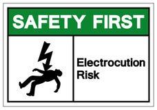 Safety First Electrocution Risk Symbol Sign, Vector Illustration,  On White Background Label .EPS10 stock illustration