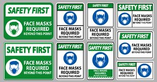 Free Safety First Face Masks Required Beyond This Point Sign Isolate On White Background Stock Image - 187727641