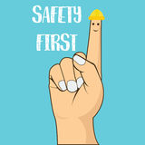 Safety first finger pointing wearing helmet vector illustration concept Royalty Free Stock Photos