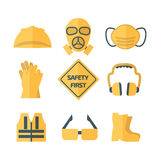Safety first icon set vector illustration. Safety first, health and safety waring signs Stock Photography