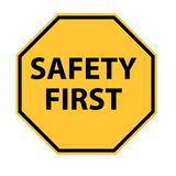 Safety first logo on white background. Safety first symbol. safety sign Stock Image