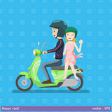 Safety first made happy road. Graphic vector illustration couple and helmet  are happy on motocycle Stock Photo