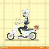 Safety first made happy road. Graphic vector illustration man and helmet  are happy on motocycle Stock Images