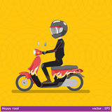 Safety first made happy road. Graphic vector illustration man and helmet  are happy on motocycle Stock Photo