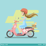 Safety first made happy road. Graphic vector illustration woman and helmet  are happy on motocycle Royalty Free Stock Images
