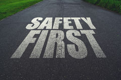 Safety first, message on the road. Concept of safe driving and preventing traffic accident Royalty Free Stock Photography