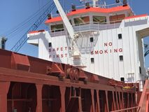 Safety First. NO SMOKING. A ship that seen while at Stock Photo