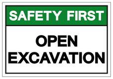 Safety First Open Excavation Symbol Sign, Vector Illustration, Isolate On White Background Label. EPS10 royalty free illustration