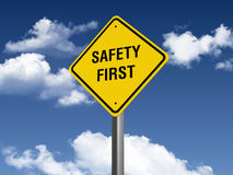 Safety First Road Sign. Three dimensional illustration of Road Sign with Safety First text Stock Images