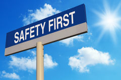 Safety First. Road sign with blue sunny sky background Stock Photo