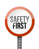 Safety first road sign illustration design. Over a white background Stock Images