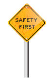 Safety first road sign Stock Image