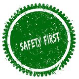SAFETY FIRST round grunge green stamp. Illustration concept Royalty Free Stock Image