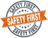 Safety first stamp. Safety first round grunge vintage ribbon stamp. safety first royalty free illustration