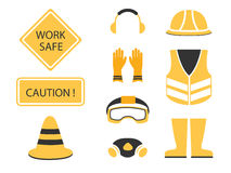 Safety first set and under construction symbol. Safety first set under construction symbol vector design Stock Photo