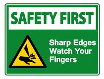 Safety first Sharp Edges Watch Your Fingers Symbol Sign Isolate On White Background,Vector Illustration. Accident, activation, alarm, alert, area, avoid stock illustration