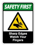 Safety first Sharp Edges Watch Your Fingers Symbol Sign Isolate On White Background,Vector Illustration. Accident, activation, alarm, alert, area, avoid vector illustration
