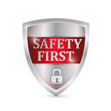 Safety first shield illustration design Stock Photos