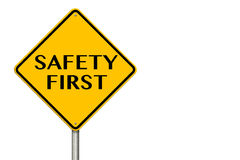 Safety First Sign. Showing business concept on a white background Royalty Free Stock Images