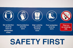 Safety first sign Royalty Free Stock Photos