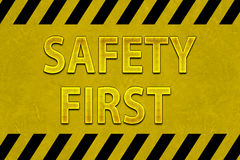 Safety First Sign. For construction Stock Photo