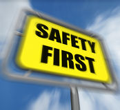 Safety First Sign Displays Prevention Preparedness and Security Royalty Free Stock Photography
