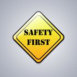 Safety first sign. Vector illustration. Safety first sign on gray background. Vector illustration Royalty Free Stock Photo