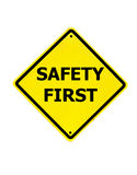 Safety First sign on a white royalty free stock photos