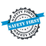 Safety first stamp. Sign. Insignia logo design isolated on white.Logo design Royalty Free Stock Image