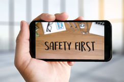 Safety First Warning concect Protect Attention Careful Security Stock Photography