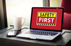 Safety First Warning concect Protect Attention Careful Security Royalty Free Stock Photos