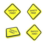 Safety first warning label. Yellow warning label for aware to safety Royalty Free Stock Image
