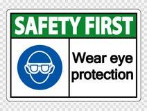 symbol Safety first Wear eye protection on transparent background vector illustration