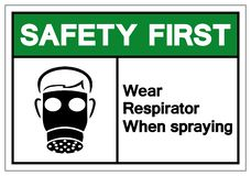 Safety First Wear Respirator When Spraying Symbol Sign, Vector Illustration, Isolate On White Background Label. EPS10 stock illustration