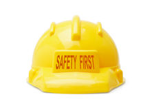 Safety First yellow hardhat Stock Photos