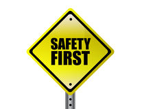 Safety first yellow sign Stock Photo