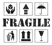 Safety fragile grey signs. Vector Stock Photography