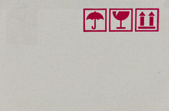 Safety Fragile Icon On Cardboard Paper Stock Image