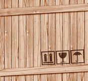Safety Fragile Icon On Wood Box With Space Royalty Free Stock Images