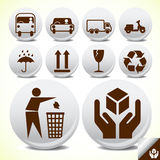 Safety fragile signs set Stock Photo