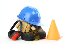 Safety gear. Kit close up over white Stock Photo