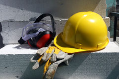 Safety gear. Kit close up on work place Royalty Free Stock Photo