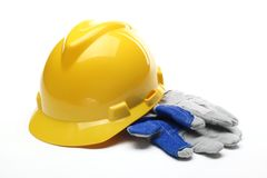 Safety gear kit. Close up over white Royalty Free Stock Photos