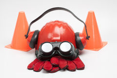 Safety gear kit. Close up on grey background Stock Images