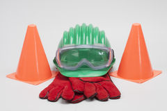 Safety gear kit. Close up on grey background Stock Image