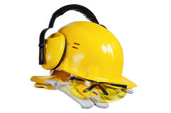 Safety gear kit close up over white Royalty Free Stock Image