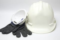 Safety gear kit. Close up over white background Stock Image