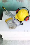 Safety gear kit. Close up on work place Stock Image