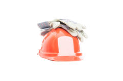 Safety gear kit for construction activity Stock Photo